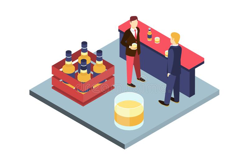 Deux jeunes amis masculins buvant de la bière à la barre, illustration intérieure de vecteur de bar illustration libre de droits