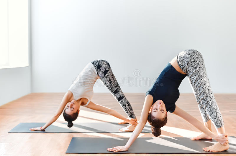 Deux jeunes femmes faisant l'asana de yoga ont tourné le chien orienté vers le bas photographie stock