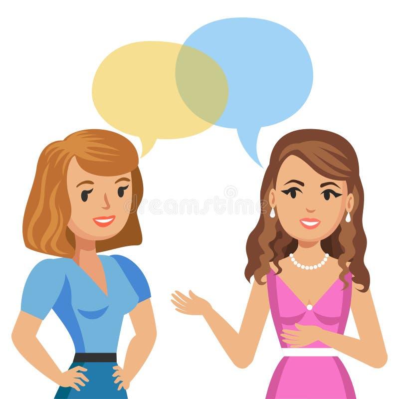 Deux jeunes femmes parlant en café Filles de bavardage Amis de réunion illustration de vecteur