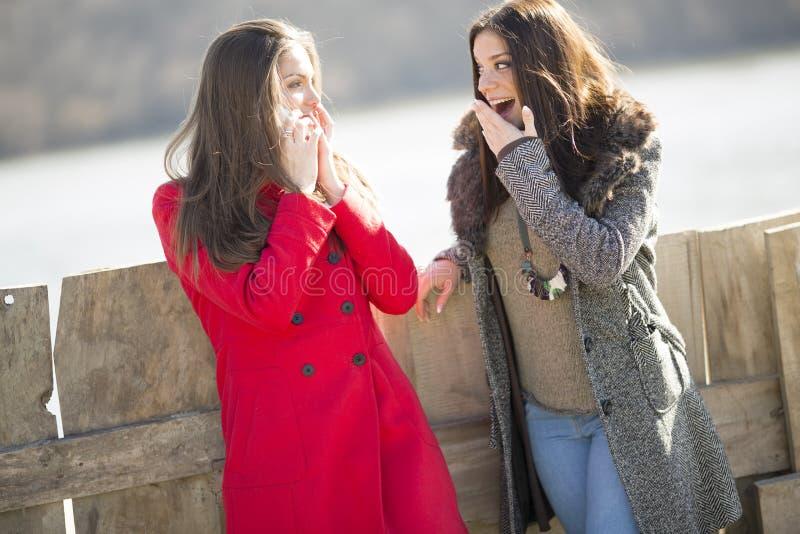 Deux jeunes femmes se tenant à côté de la barrière, l'un d'entre eux en rouge photos stock