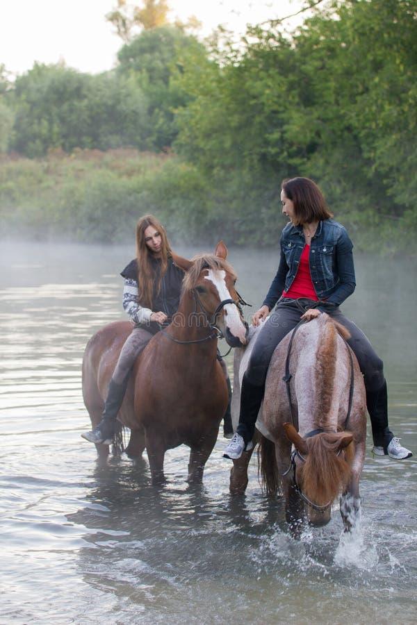 Deux jeunes femmes sur le séjour de chevaux dans l'eau brouillard images libres de droits