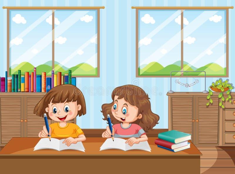 Deux jeunes filles étudiant à la maison illustration libre de droits