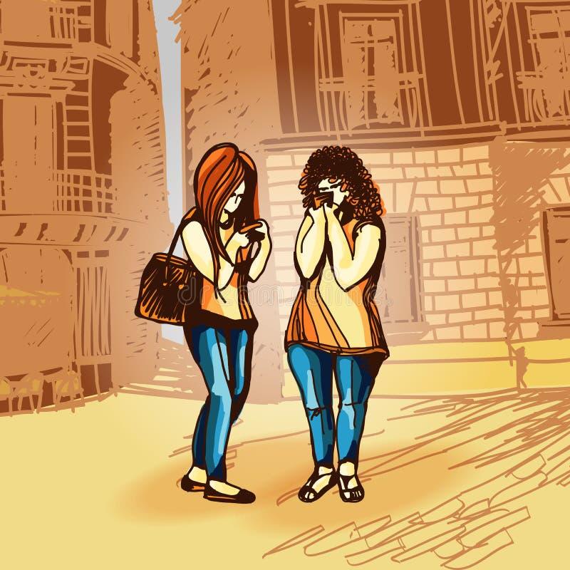 Deux jeunes filles avec des téléphones portables illustration stock