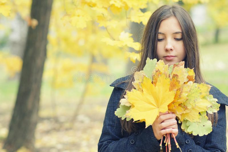 Deux jeunes filles sur une promenade pendant l'automne se garent photographie stock libre de droits