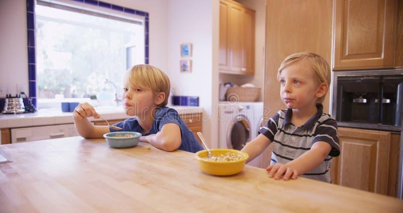 Deux jeunes frères beaux mangeant de la céréale ensemble images stock