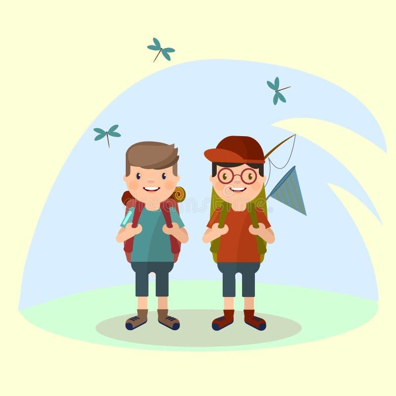 Deux jeunes hommes de touristes avec un sac à dos va sur une hausse dans la perspective de la nature Vecteur dans le style de Th illustration libre de droits