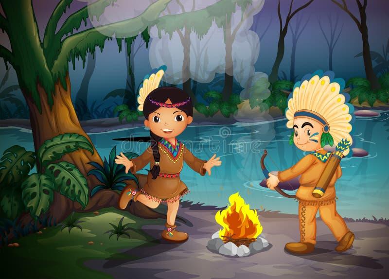 Deux jeunes Indiens à la forêt illustration libre de droits