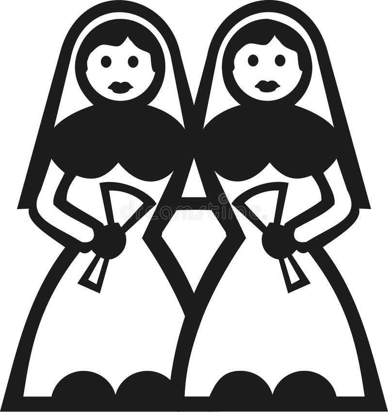 Deux jeunes mariées dans la robe de mariée illustration de vecteur