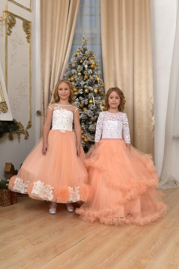 Deux jeunes soeurs dans le blanc avec des robes de pêche photos libres de droits