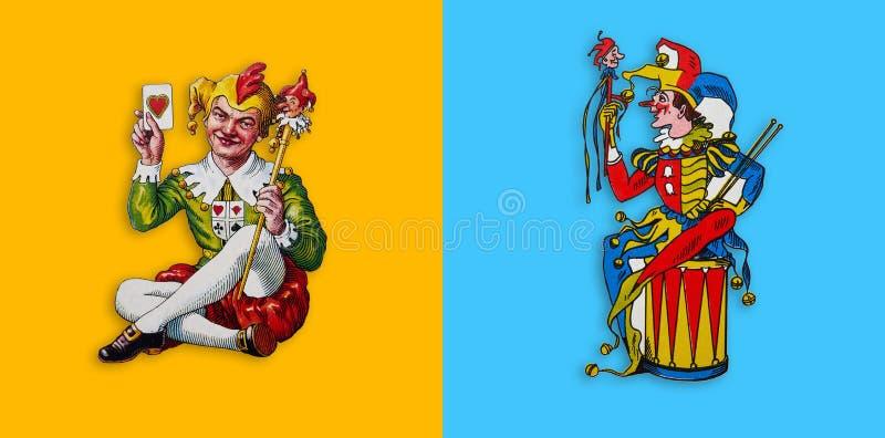 Deux jokers de carte dans la place jaune et bleue illustration stock