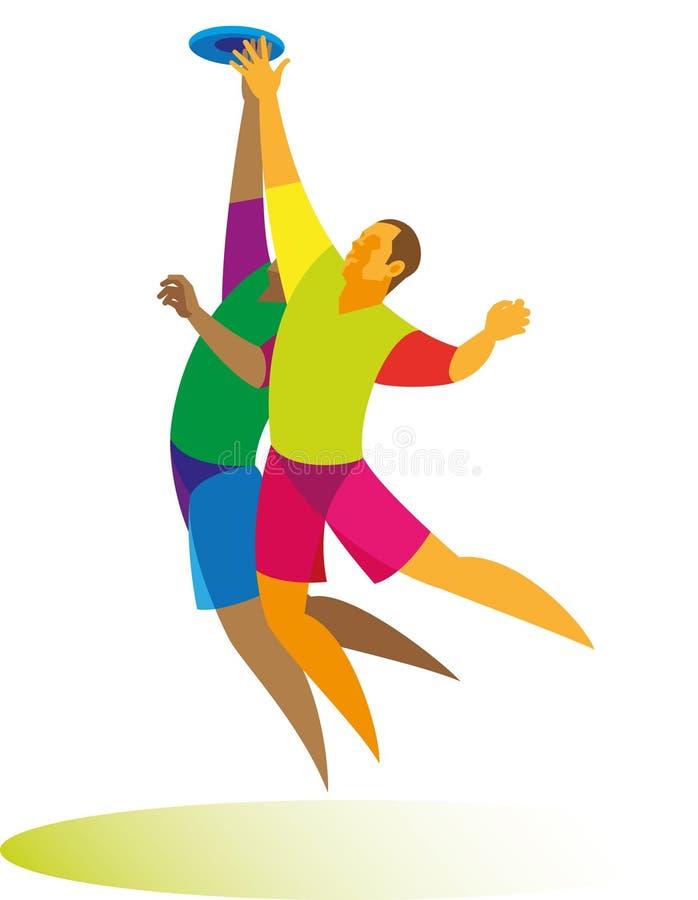 Deux joueurs dans le jeu qu'un saut final de frisbee veulent attraper une mouche image libre de droits