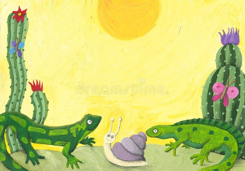 Deux lézards mignons dans le désert illustration de vecteur