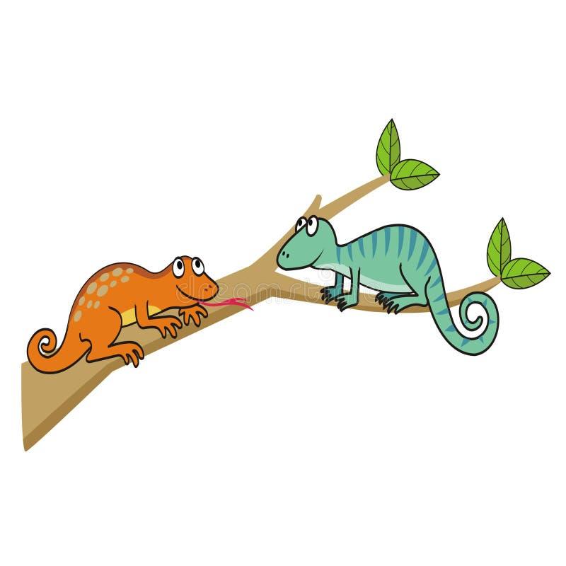 Deux lézards mignons sur une branche d'arbre illustration libre de droits