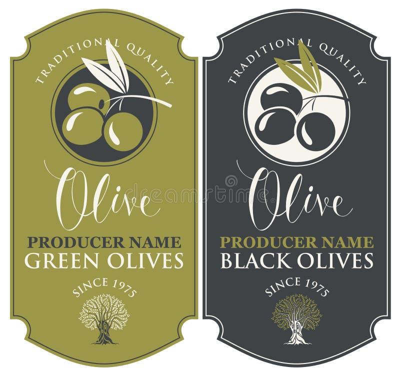 Deux labels de vecteur pour les olives vertes et noires illustration de vecteur