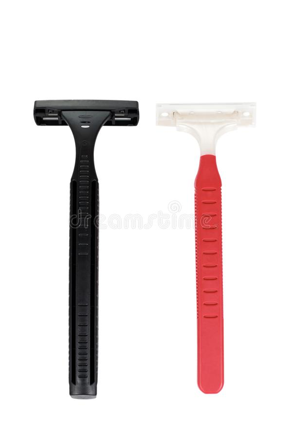 Deux lames de rasoir de rasage jetables D'isolement sur le fond blanc Accessoire d'hygiène personnelle, rasoir pointu de lames, d photos stock