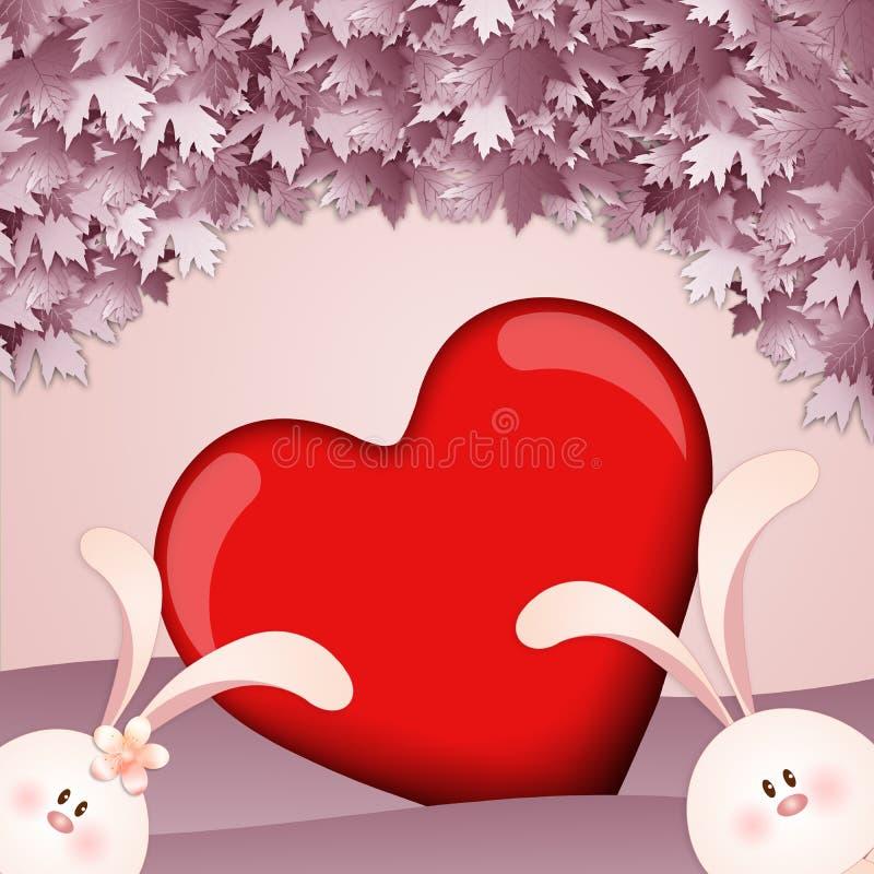 Deux lapins avec le coeur illustration de vecteur