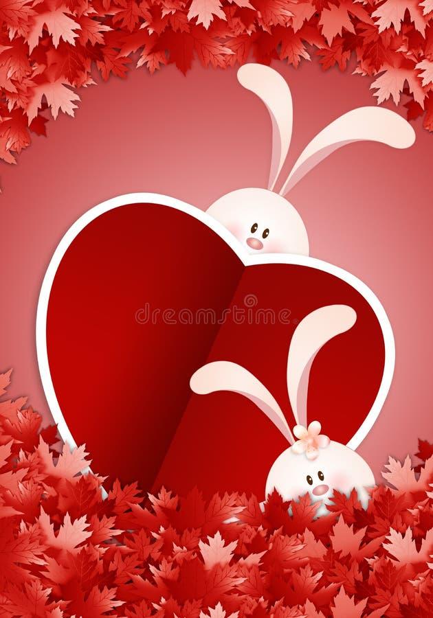 Deux lapins avec le coeur illustration stock