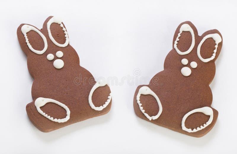 Deux lapins de pain d'épice photos stock