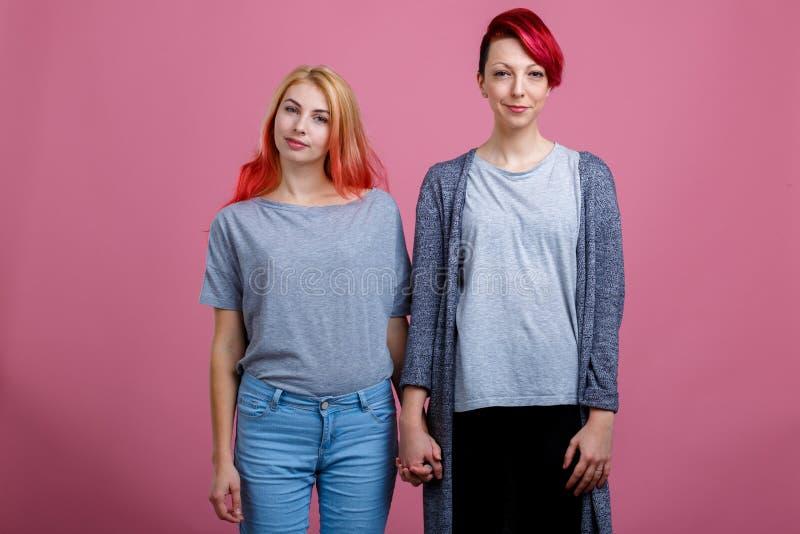 Deux lesbiennes se tenant côte à côte et tenant des mains sur un fond rose image libre de droits