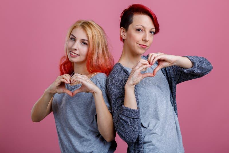 Deux lesbiennes se tiennent au coude à coude avec des mains sur le fond rose image stock