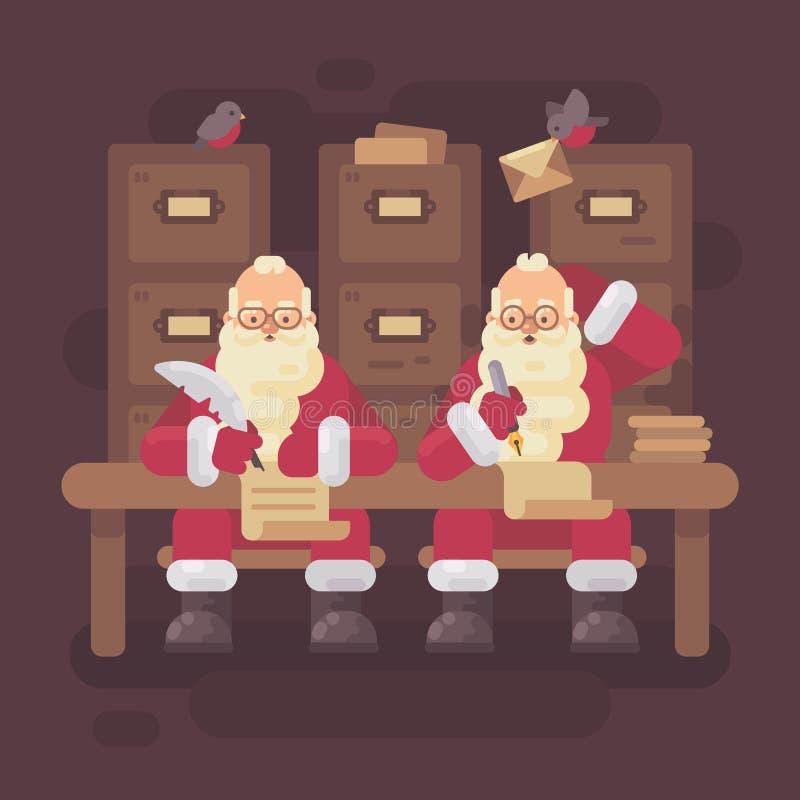 Deux lettres d'écriture de Santa Clauses aux enfants illustration libre de droits