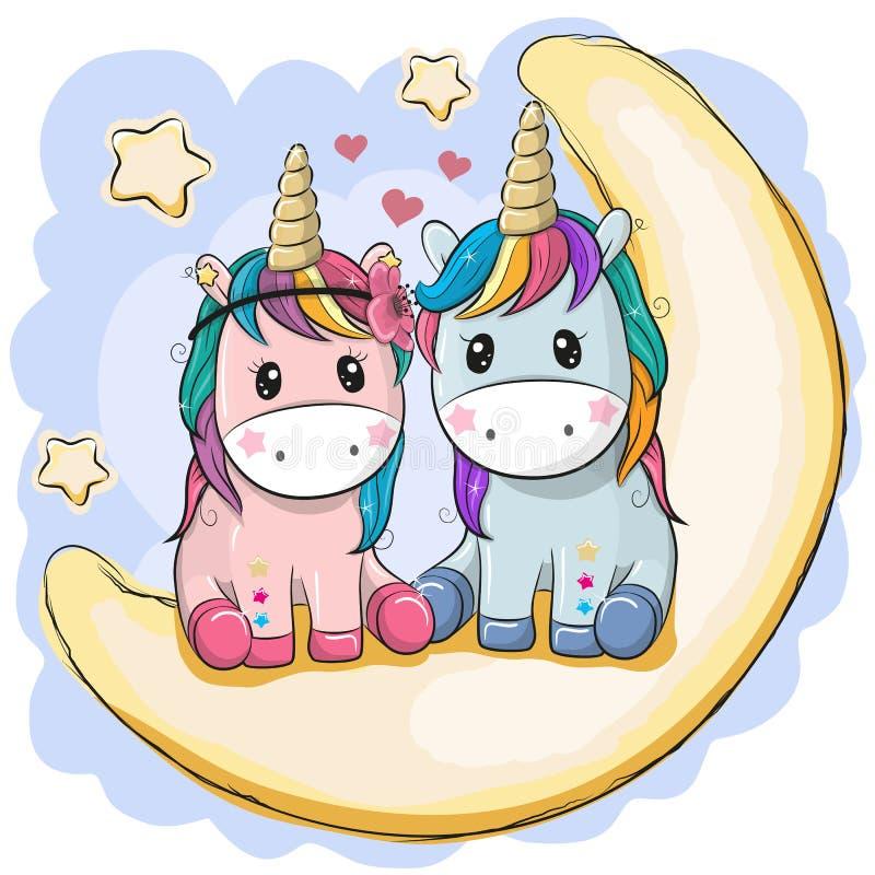 Deux licornes mignonnes se reposent sur la lune illustration de vecteur