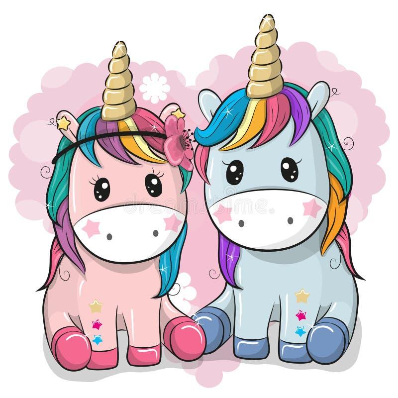 Deux licornes mignonnes sur un fond de coeur illustration libre de droits
