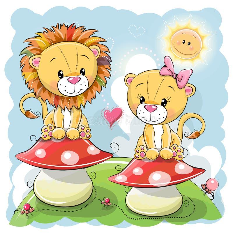 Deux lions mignons de bande dessinée sur des champignons illustration de vecteur