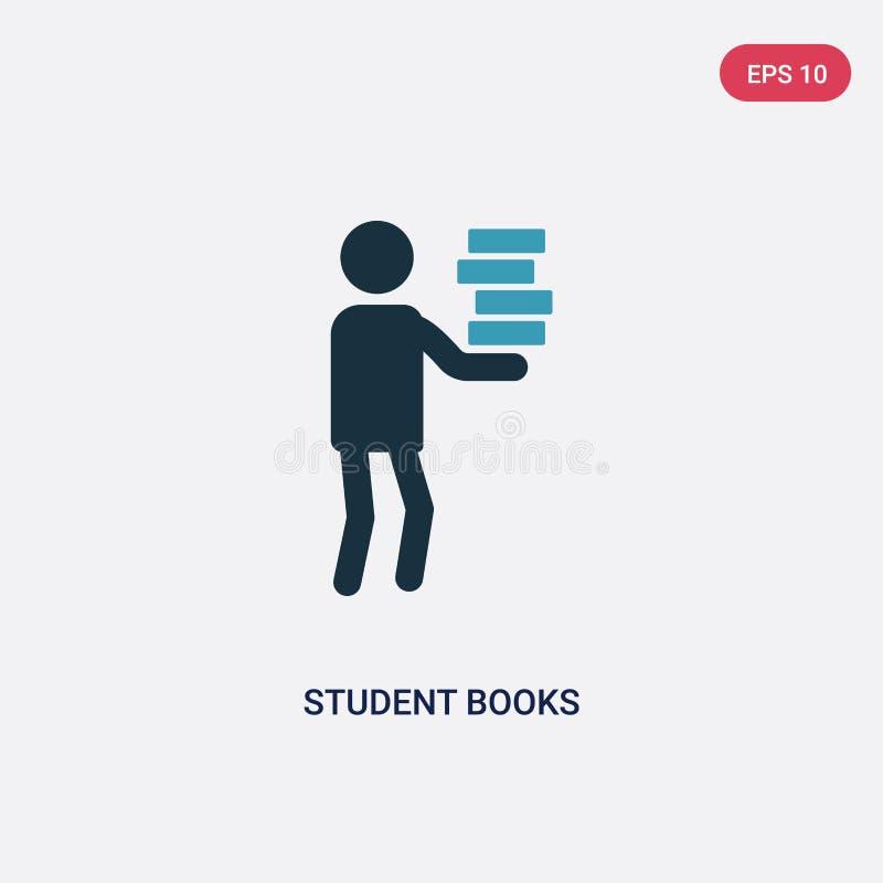 Deux livres d'étudiant de couleur dirigent l'icône du concept de personnes le symbole bleu d'isolement de signe de vecteur de liv illustration libre de droits