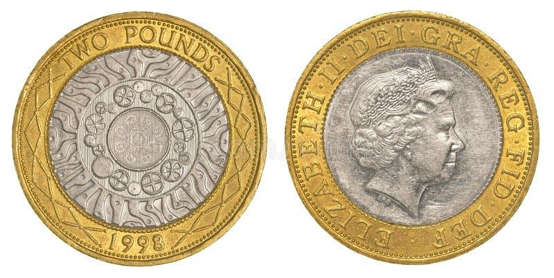 Deux livres de pièce de monnaie britanniques image stock
