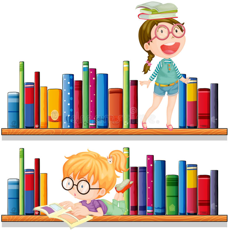 Deux livres de relevé de filles illustration libre de droits