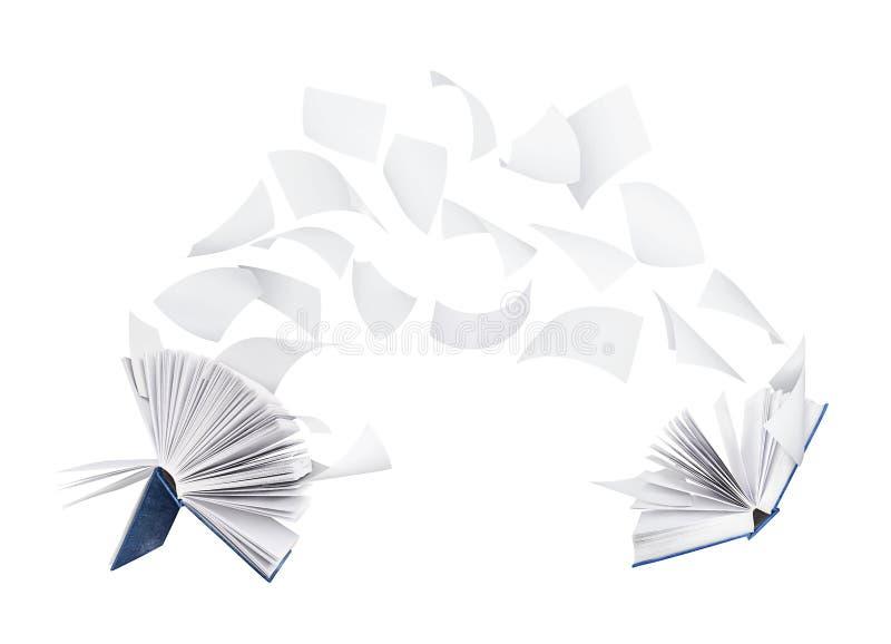 Deux livres en blanc avec des pages de vol d'isolement sur le blanc photographie stock libre de droits