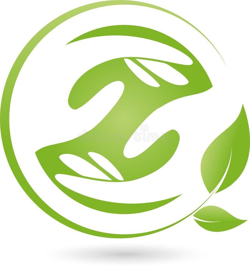 Deux logos de mains et de feuilles, de naturopath et de bien-être illustration stock