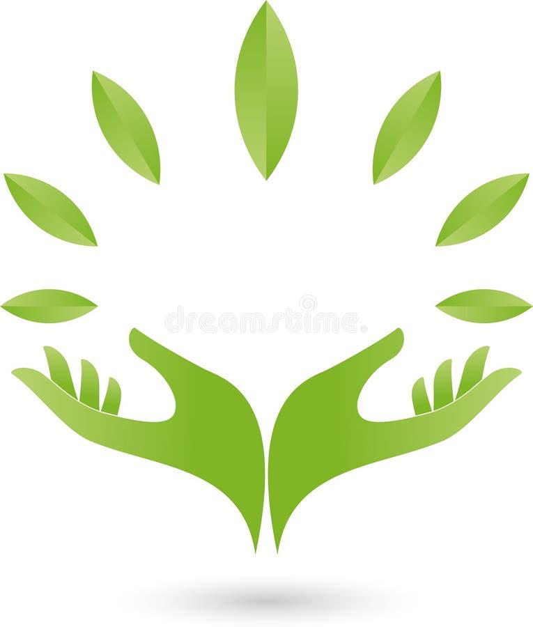 Deux logos de mains et de feuilles, de naturopath et de nature illustration libre de droits