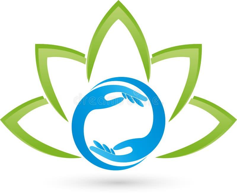Deux logos de mains et de feuilles, d'usine, de bien-être et de massage illustration libre de droits