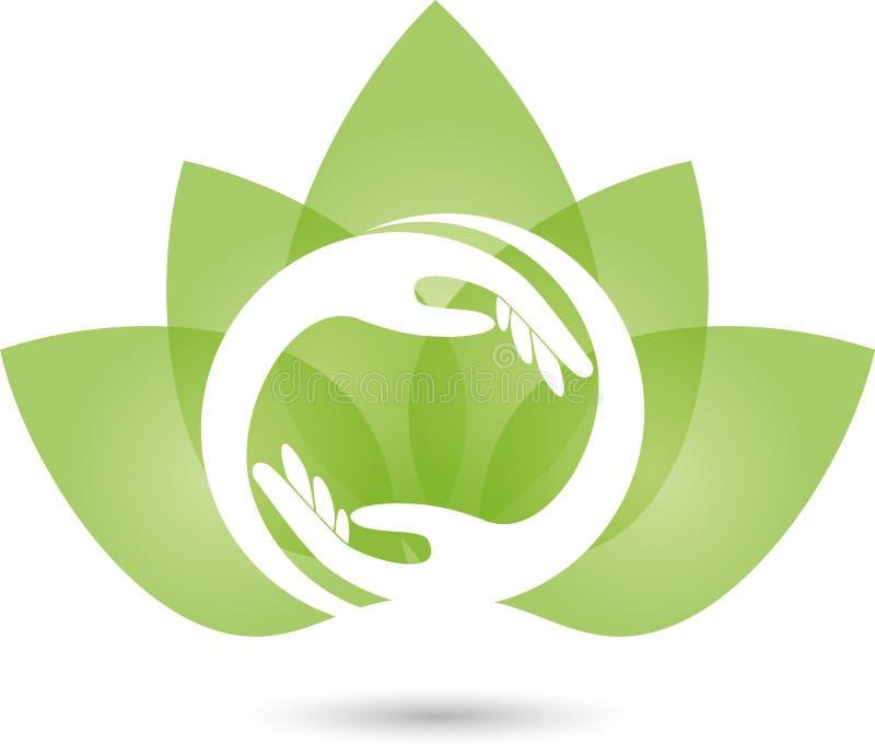 Deux logos de mains et de feuilles, d'usine, de massage et de bien-être illustration de vecteur
