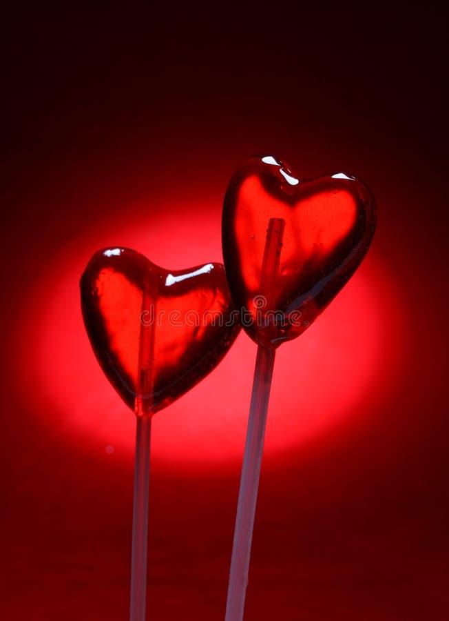 Deux lucettes en forme de coeur pour Valentine photographie stock