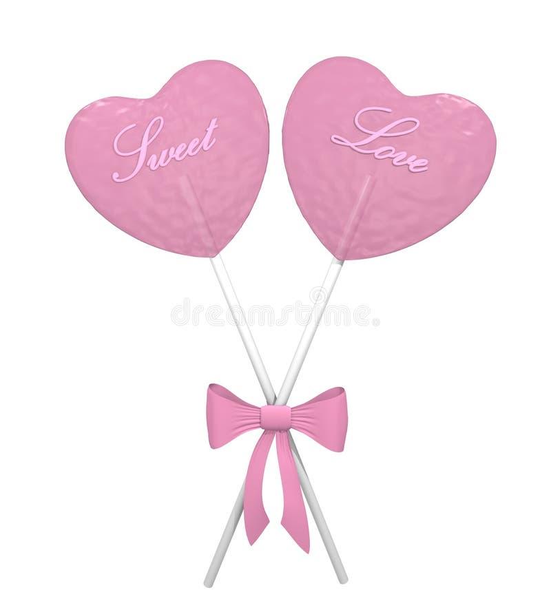 Deux lucettes roses de coeur illustration libre de droits