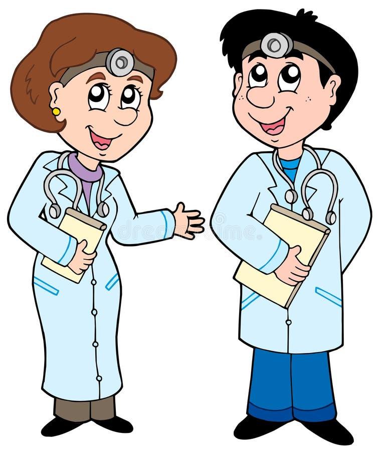 Deux médecins de dessin animé illustration libre de droits