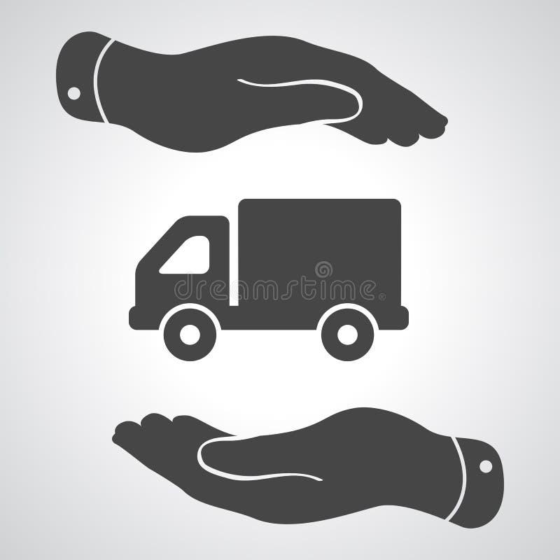 Deux mains avec le pictogramme plat de camion illustration libre de droits