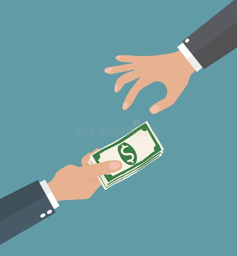 Deux mains d'homme d'affaires, donnant l'argent illustration libre de droits