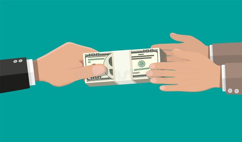 Deux mains d'homme d'affaires, donnant l'argent illustration de vecteur