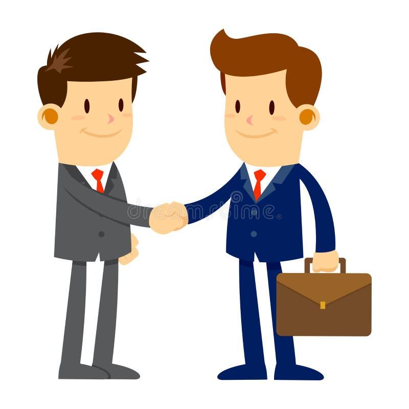 Deux mains d'In Suits Shaking d'homme d'affaires tout en souriant illustration libre de droits