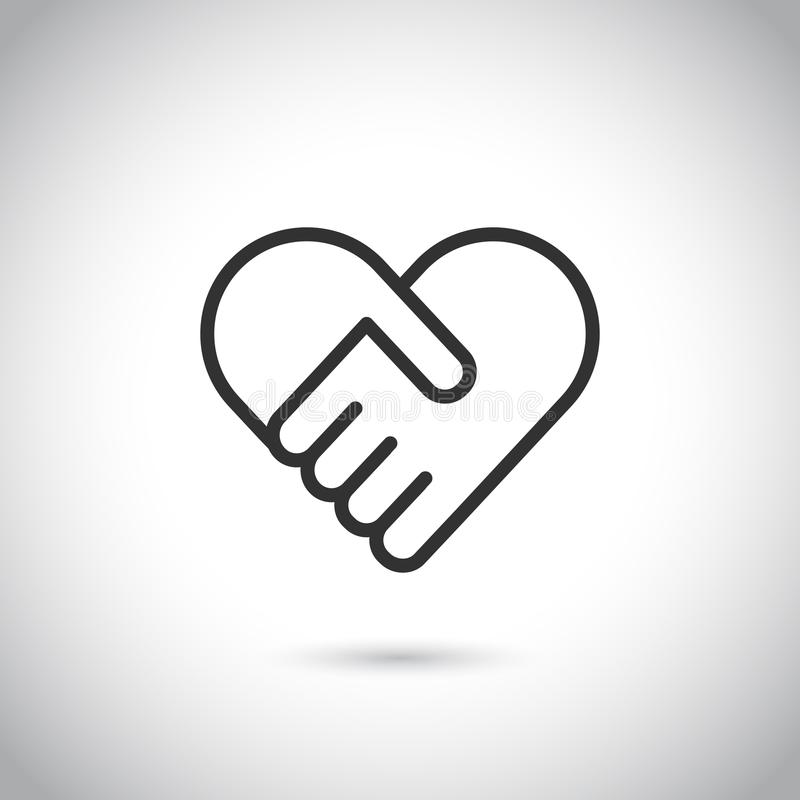 Deux mains dans la forme du coeur Ligne mince moderne icône de vecteur illustration stock
