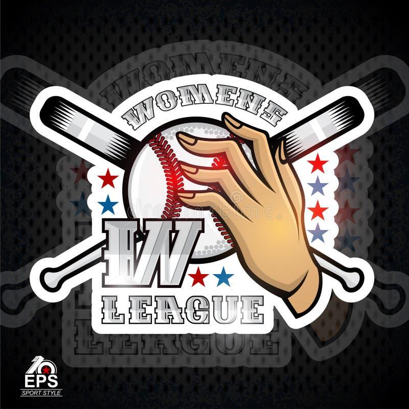 Deux mains de dame tiennent la boule de base-ball avec la lettre W et la batte croisée Logo de sport pour toute équipe de femme illustration de vecteur