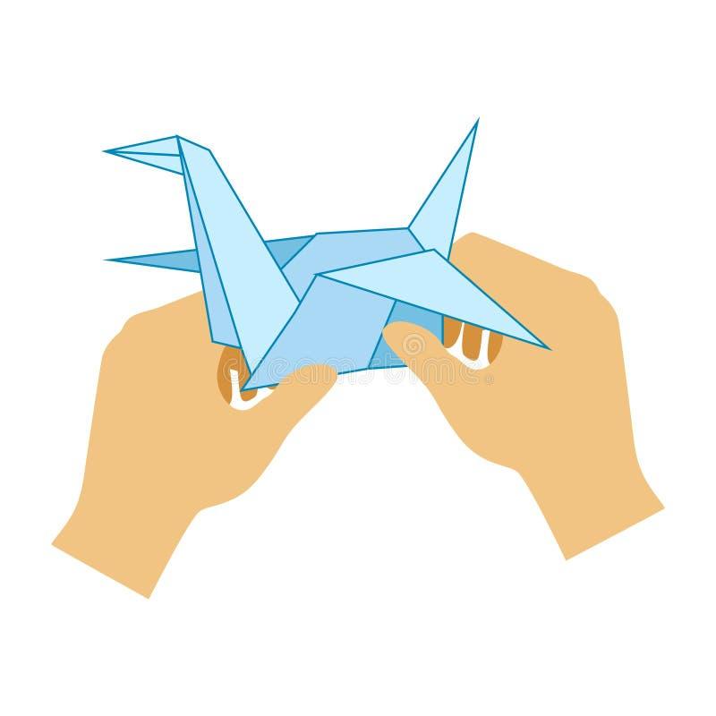Deux mains faisant la grue de papier d'origami, école primaire Art Class Vector Illustration illustration libre de droits