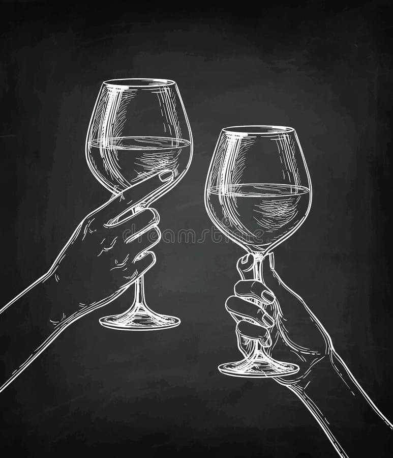 Deux mains faisant tinter des verres de vin illustration stock