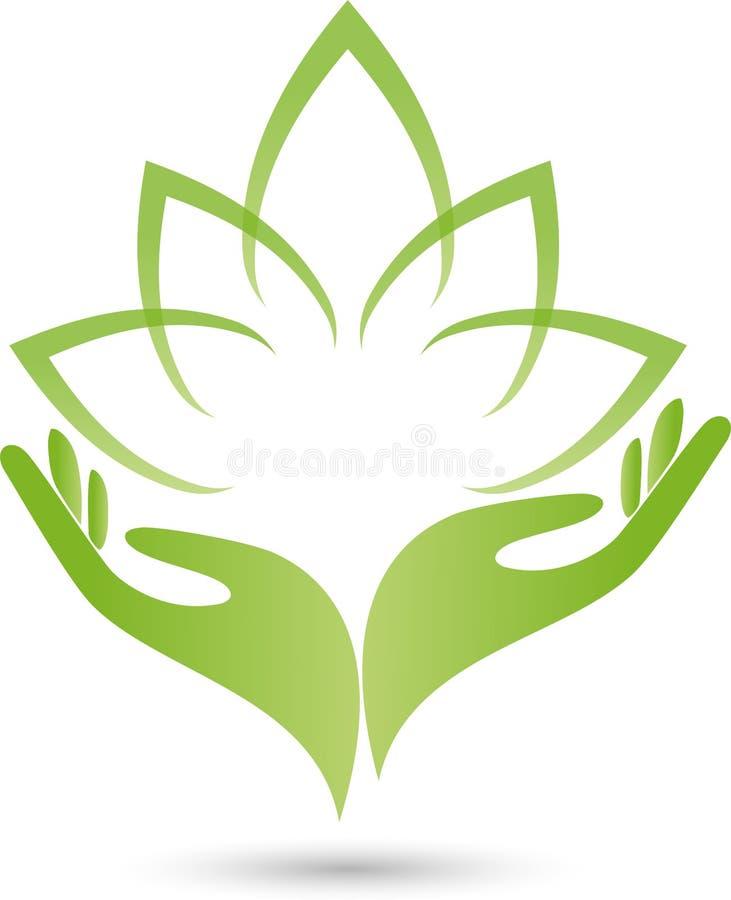 Deux mains, feuilles, logo de naturopath illustration de vecteur
