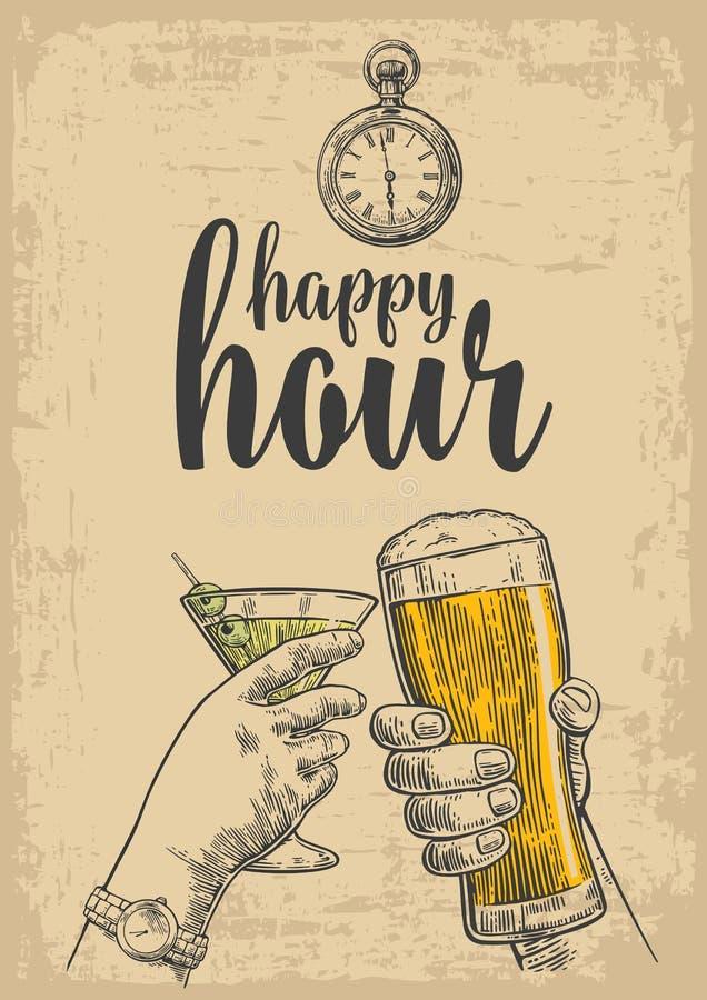 Deux mains font tinter un verre de bière et un verre de cocktails Le vecteur de vintage a gravé l'illustration tirée pour le Web, illustration libre de droits