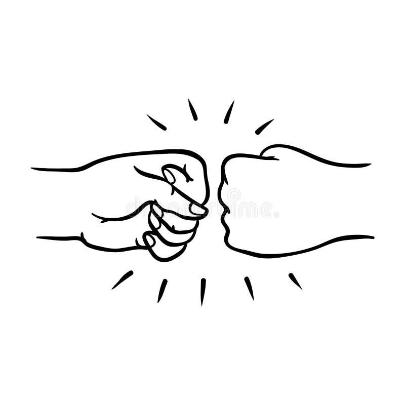 Deux mains humaines donnant la bosse de poing font des gestes dans le style de croquis d'isolement sur le fond blanc illustration de vecteur